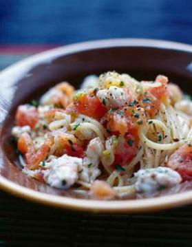 Spaghettini al dente aux langoustines pour 6 personnes