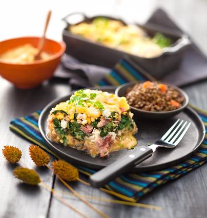 Recette de gratin de blettes au chèvre frais et bresaola