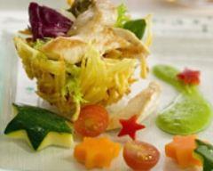 Recette nids au poulet et aux légumes