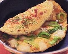 Recette omelette au rocamadour, aneth et blancs de poireaux
