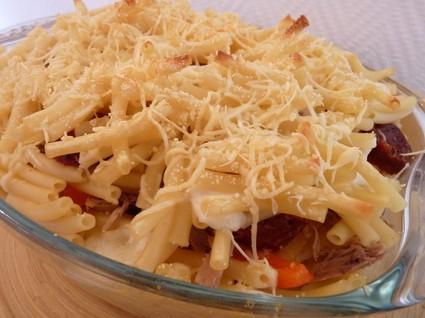 Recette de gratin de pâtes au chorizo et au thon