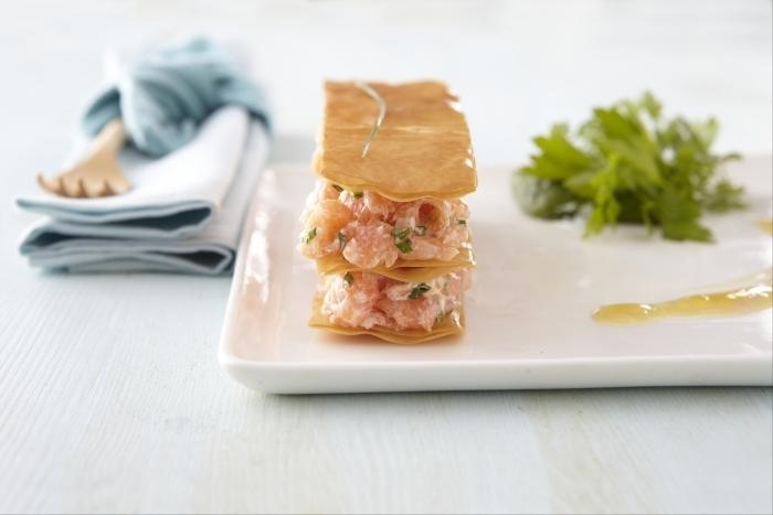 Recette de feuile à feuille aux deux saumons, vinaigrette à la ...