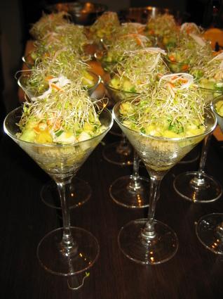 Recette de verrine de quinoa, salade de surimi, mangue