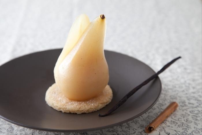 Recette de poire pochée à la guinness, shortbread facile et rapide