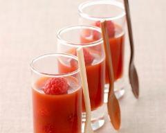 Recette verrines de gaspacho poivrons framboises