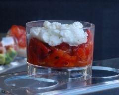 Recette verrines de poivrons, tomates et mozzarella