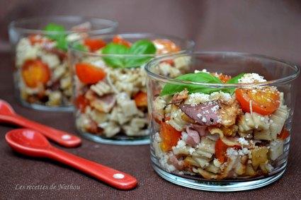 Recette de verrines de crozets à la pancetta grillée et tomates ...