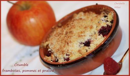 Recette de crumble framboises pommes praliné