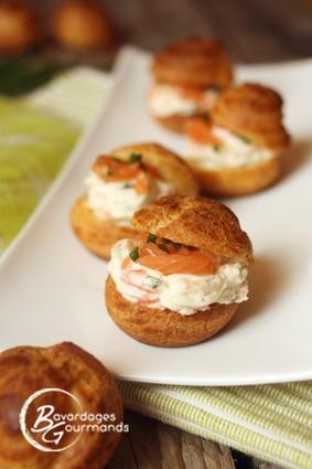 Recette de choux fromage frais et saumon fumé