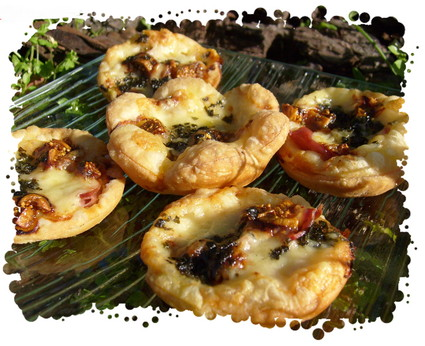 Recette de bouchées au comté, figues , jambon cru et basilic
