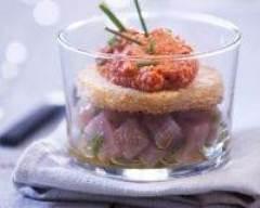 Recette verrines de tartare de thon et poivron rouge