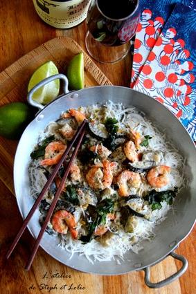 Recette de curry vert thaï de crevettes aux aubergines