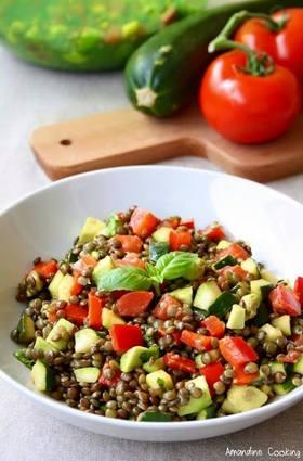 Recette de salade de lentilles aux légumes