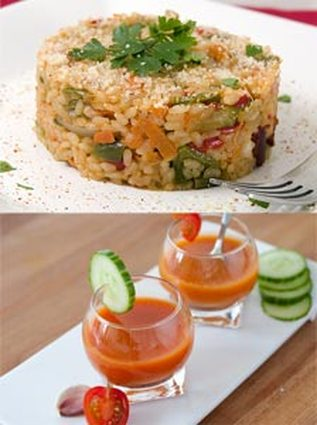 Recette de gazpacho et son risotto au chorizo et parmesan