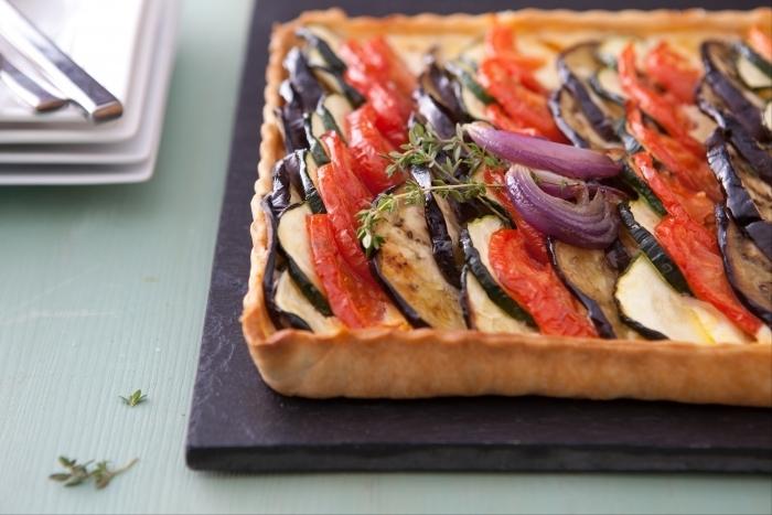 Recette de tarte façon tian légumes et thym frais facile et rapide