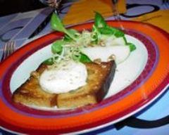 Recette grillé de pain d'épices au chèvre frais et au miel