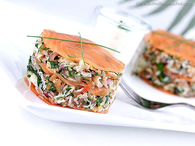 Mille-feuille de crabe au saumon fumé  notre recette illustrée ...