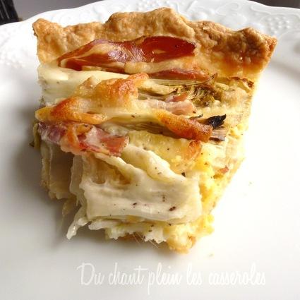 Recette de tarte fine aux endives, pancetta et fromage filant