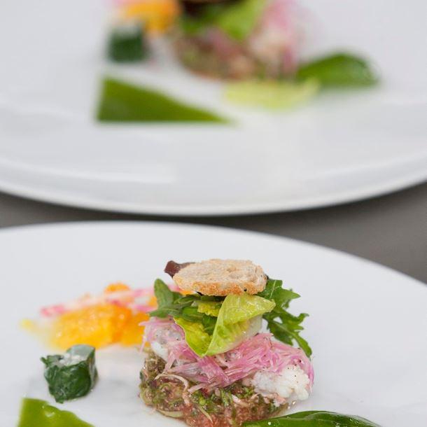 Recette compression mélange de salades du marché, langoustines ...