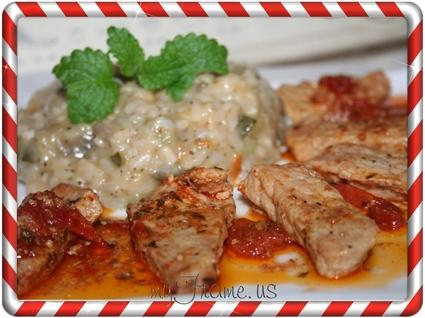 Recette de porc aux tomates confites et risotto aux légumes