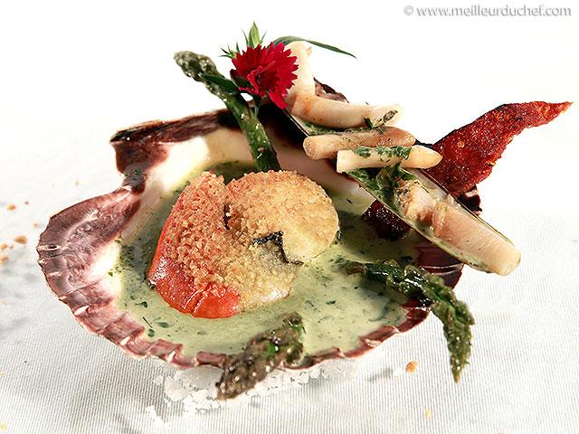 Coquille saint-jacques et couteau en croûte de wasabi  fiche ...