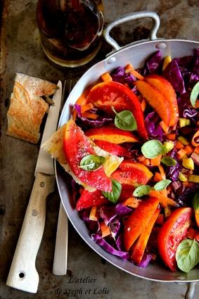 Recette de salade estivale tomates, nectarines et carottes