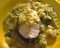 Recette fondue de poireaux et poisson à la moutarde