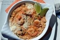 Recette de risotto au bouillon de tomates, scampi, parmesan et ...