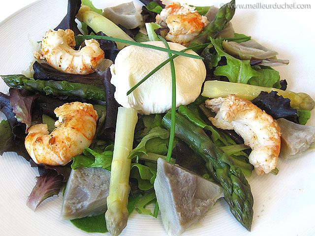 Salade d'artichauts aux queues de langoustines poêlées  la ...