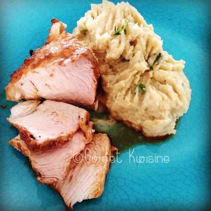 Recette de rouelle de porc rôtie à l'orange et puree de patate douce