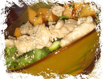 Recette de salade de poulet au melon et kiwi