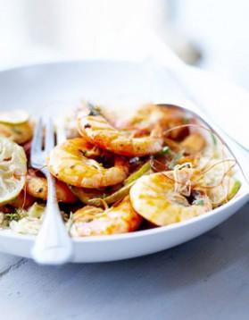 Crevettes grillées, riz au lait de coco pour 6 personnes