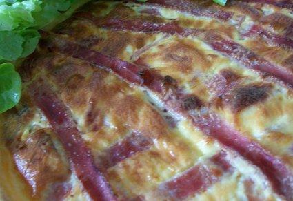 Recette de tarte aux champignons au chèvre et jambon fumé