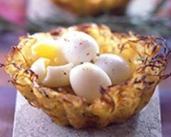 Recette nids de pommes de terre aux oeufs de caille