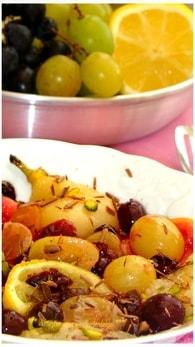 Recette de salade de raisins, poire et baies de cranberry