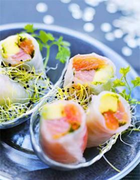 Rouleaux de saumon, avocat et pamplemousse pour 4 personnes ...