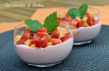 Recette de salade de fraises et melon, yaourt grec fraises et menthe ...