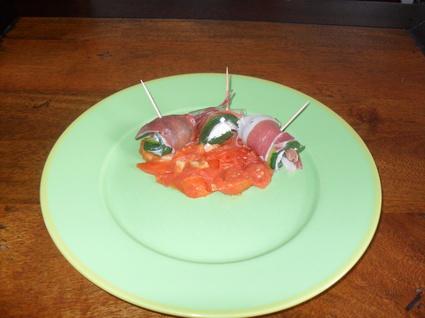 Recette rouleau de courgettes au jambon et tartare (entrée froide)