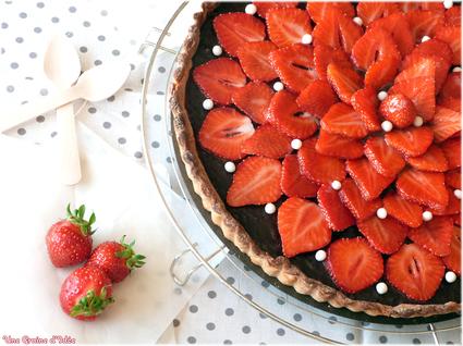 Recette de tarte aux fraises et chocolat