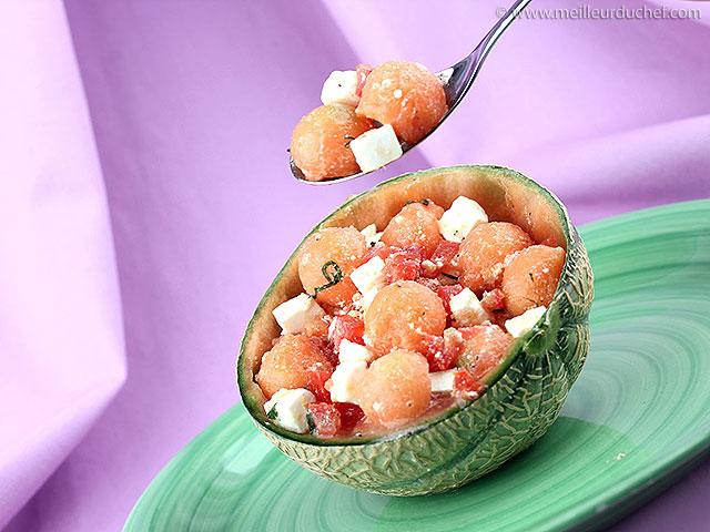 Salade de melon et feta  recette de cuisine illustrée ...