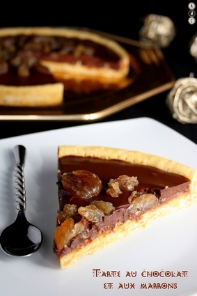 Recette de tarte à la crème de marrons, chocolat et marrons glacés ...